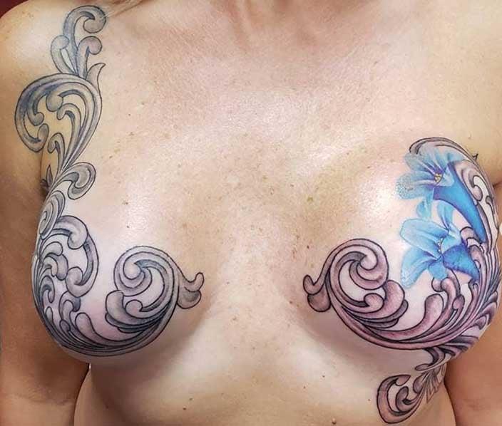 Flourish Mastectomy Tattoo - Ike Trimboli