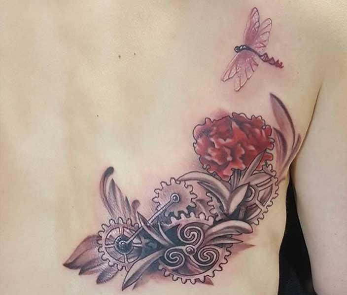Steampunk Dragonfly Mastectomy Tattoo - Stacie Rae Weir