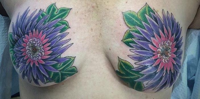 Double flower mastectomy tattoo - Josh Robinson