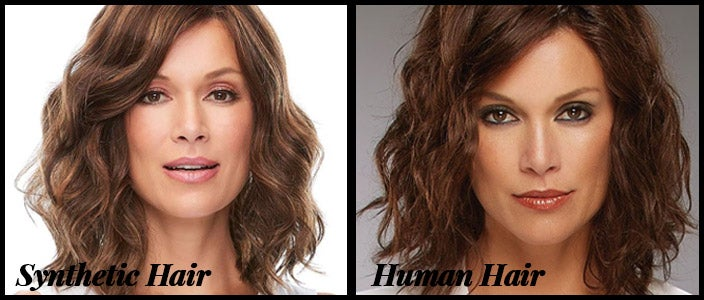 The difference between synthetic hair and human hair.