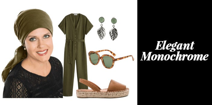 Olive green head scarf with matching olive green jumpsuit, leaf motif sterling silver earrings, tortoise shell sunglasses, and platform sandals.