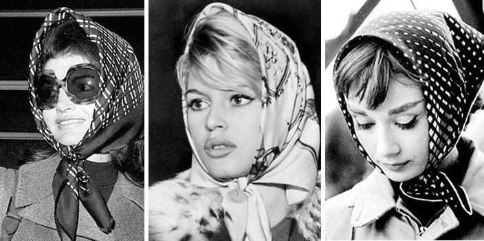 Jackie O, Brigitte Bardot, and Audrey Hepburn in Head Scarves