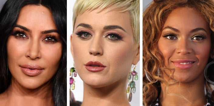 Celebrities with eyebrow extensions - Kim Kardashian, Katy Perry, and Beyonce