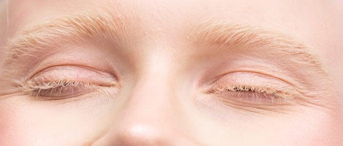 Very light blonde eyebrows