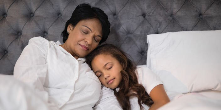 10 Tips - Get a healthy amount of sleep - woman and child resting