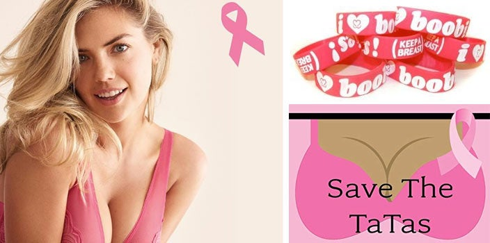 Harmful breast cancer marketing: save the tatas, I love boobies, and pink bras.