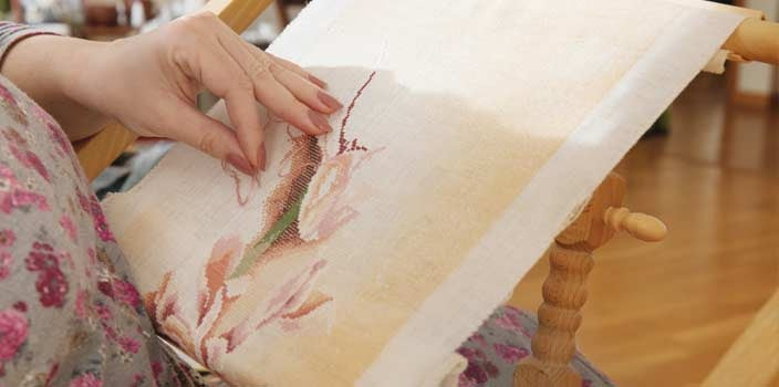 Doing embroidery during cancer treatments