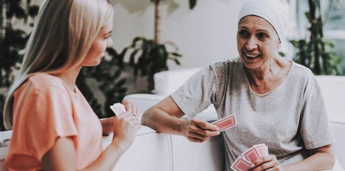 Play card games during chemo infusion to pass time