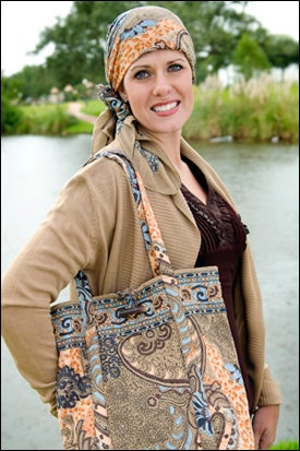 cancer gifts - head scarf and tote set