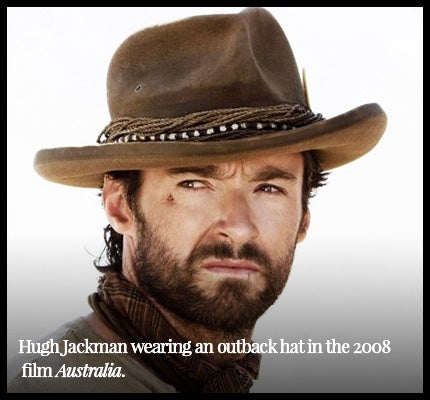 Hugh Jackman wearing outback hat for film Australia.