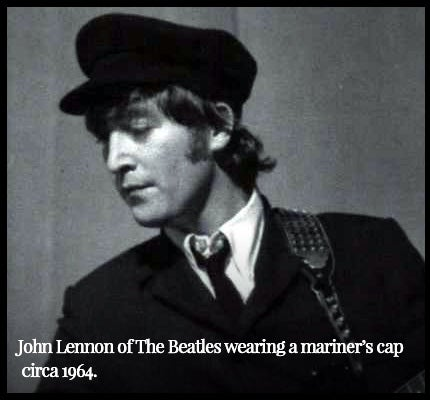 John Lennon of the Beatles wearing a mariner's cap.