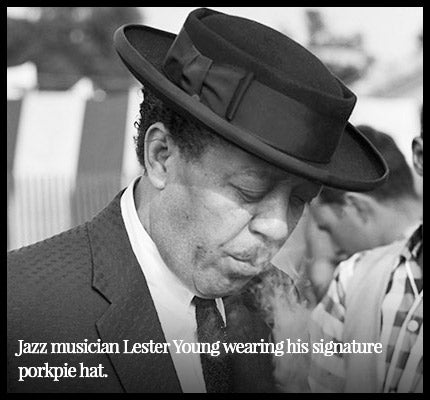 Musician Lester Young wearing a porkpie hat.
