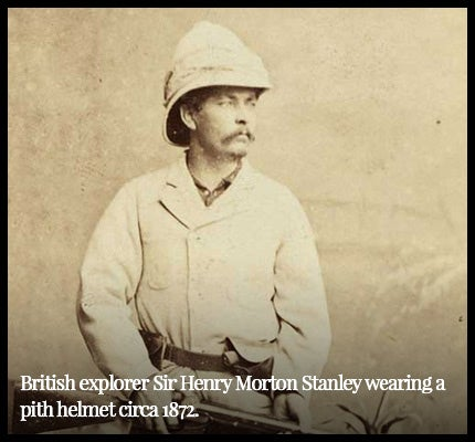 British explorer wearing pith helmet.