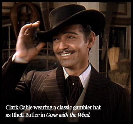 Clark Gable wearing a gambler hat as Rhett Butler in Gone with the Wind.