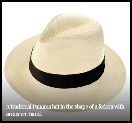 Traditional Panama hat in shape of fedora.