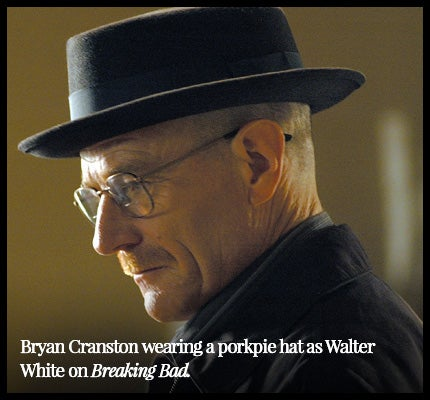 Bryan Cranston wearing a porkpie hat as Walter White in Breaking Bad.