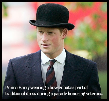 Prince Harry wearing a bowler hat.