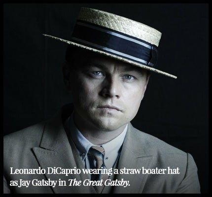 Leonardo DiCaprio wearing straw boater hat in The Great Gatsby.