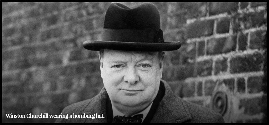 Winston Churchill wearing a homburg hat.