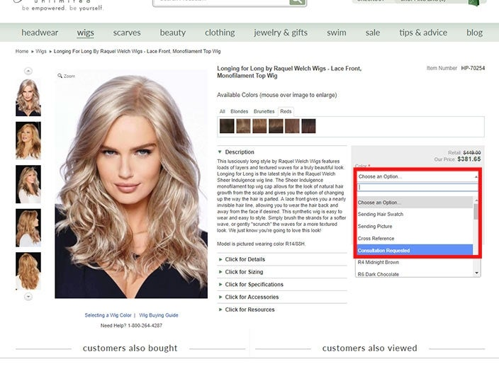 Finding the best wigs online: free color consultation