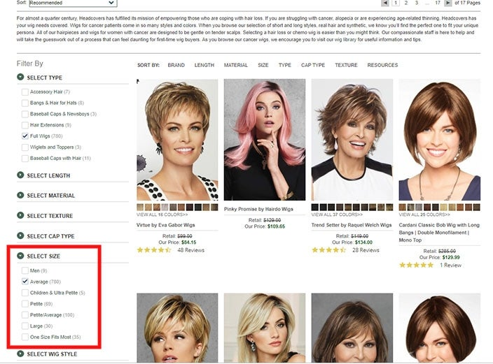 Shopping for wigs online: how to find the correct sized wig