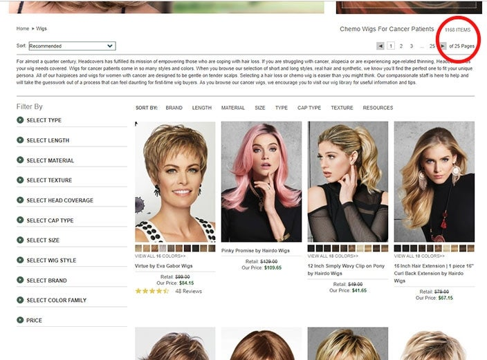 Shopping for wigs online