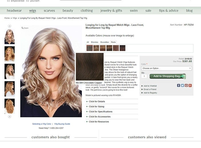 Finding the right wig color online