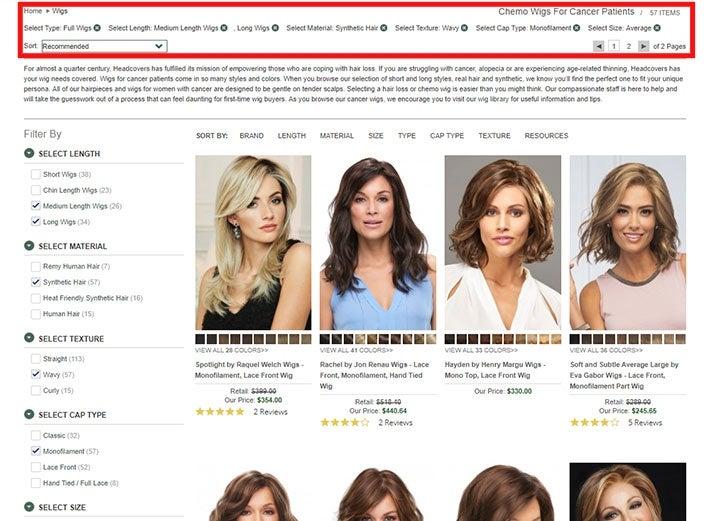 Filtering wigs online