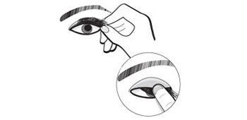 placing eyelashes onto eye