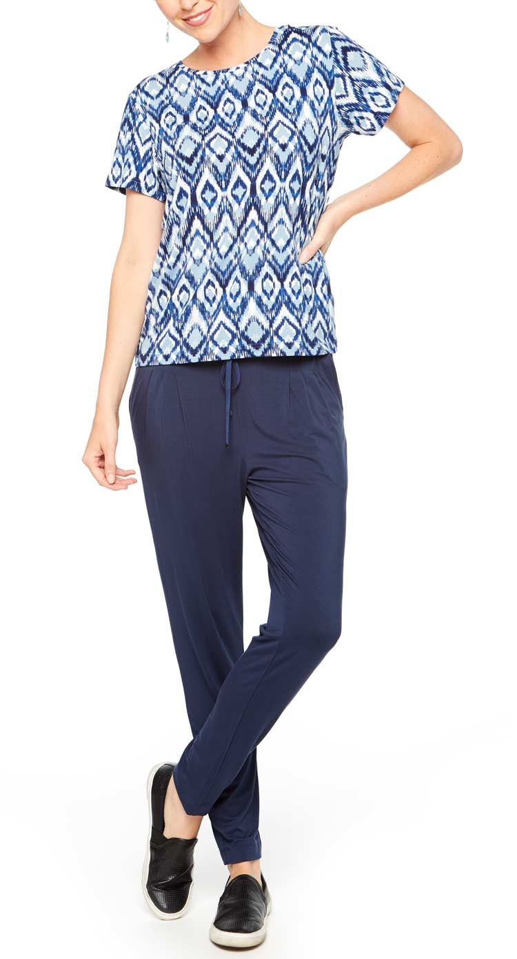 Comfy Outfits to Wear at Home - Blue Chevron Shirt and Navy Pants