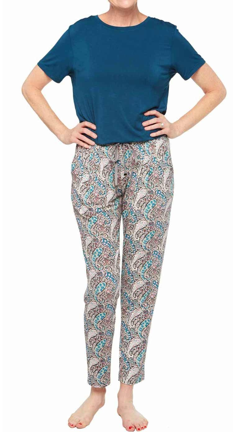 Comfy Outfits to Wear at Home - Teal Shirt and Colorful Paisley Pants