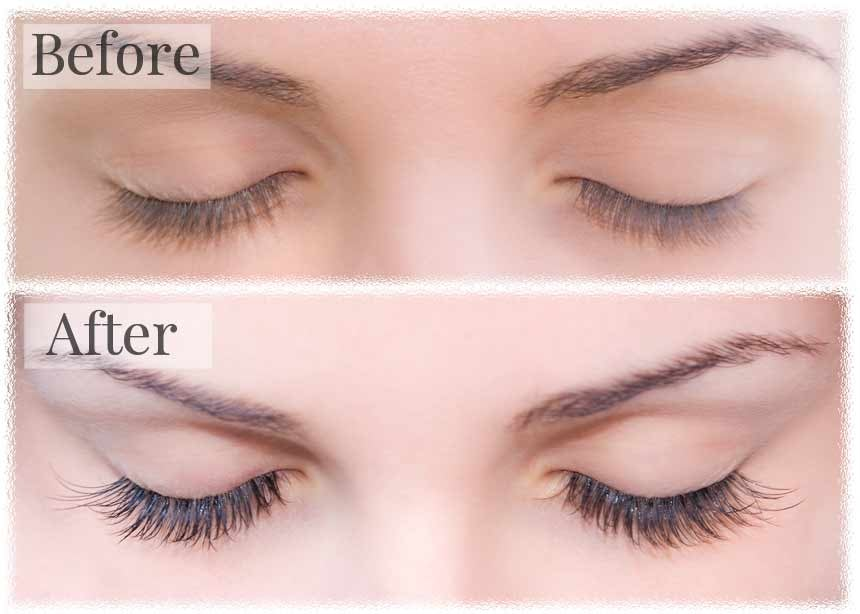 before and after of false eyelashes