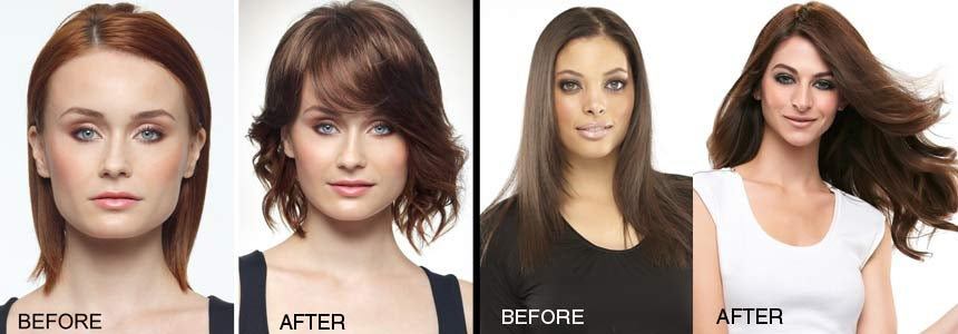 before and after images of women with hair toppers
