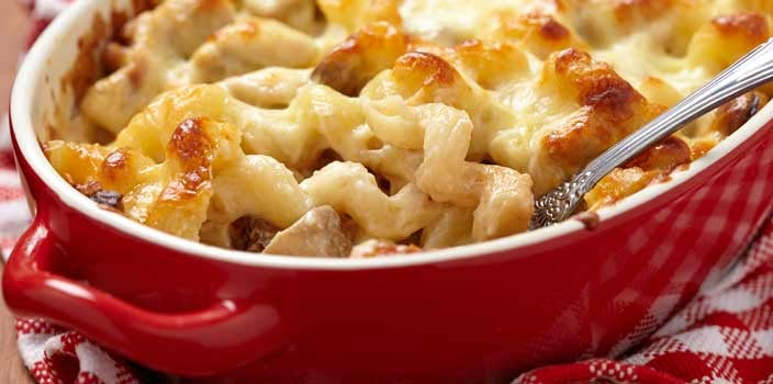 Home cooked macaroni and cheese meal