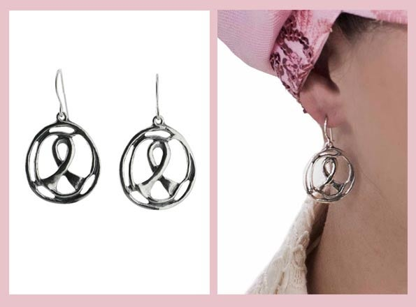 Sterling silver breast cancer awareness ribbon earrings.