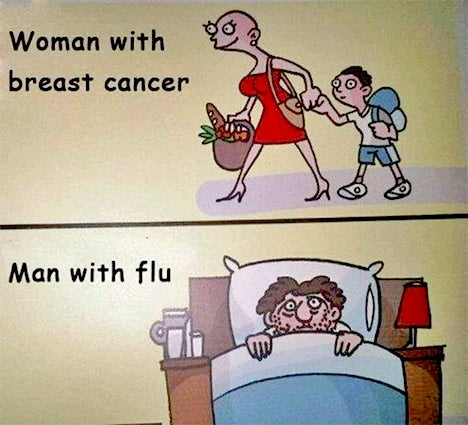 Breast cancer memes: woman with cancer v man with flu
