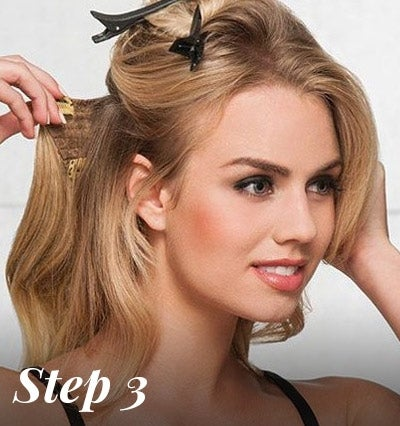 hair extension application - attach clips to head