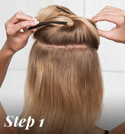 hair extension application - clip half of hair up