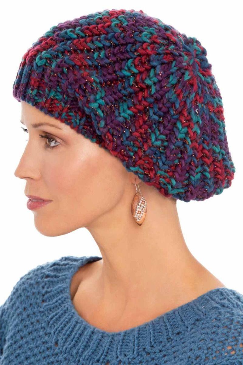 Jewel Tone Knit Beret Hat Fall 2020