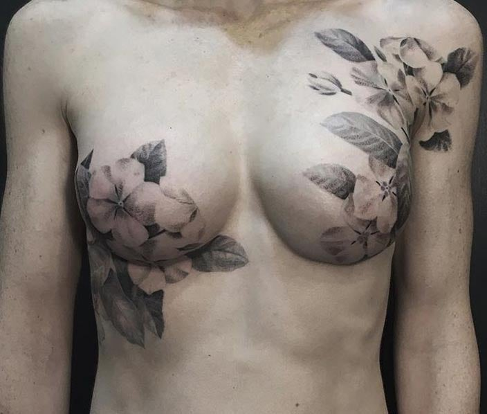 Floral Double Mastectomy Tattoo - David Allen