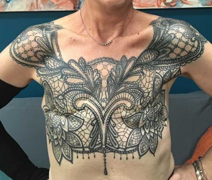 Lace top mastectomy tattoo