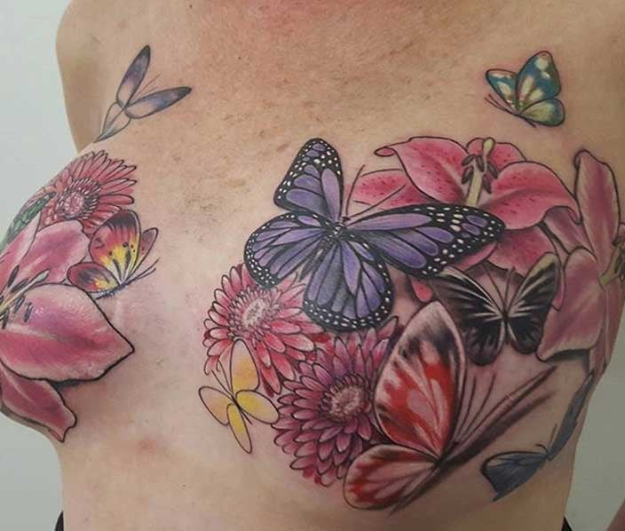Butterfly and Flower Mastectomy Tattoo - Samantha Rae