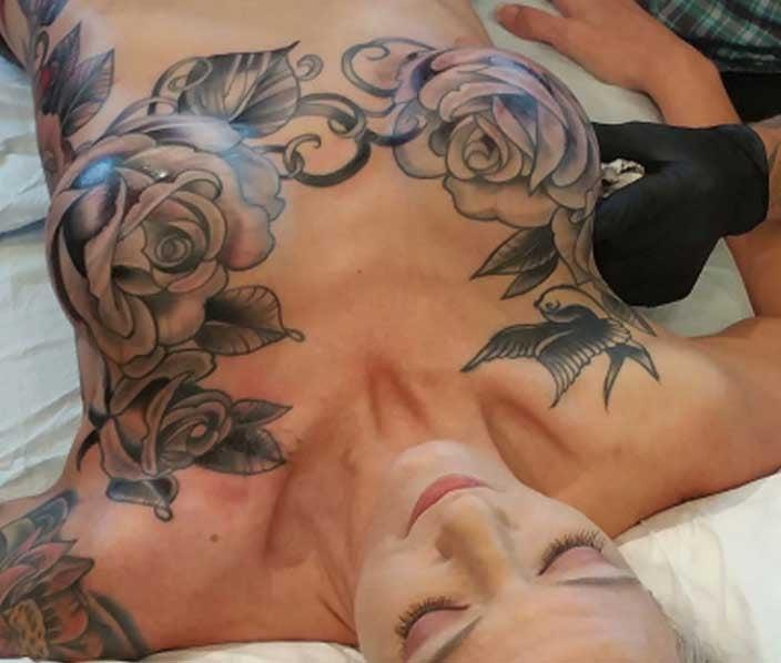 Rose Mastectomy Tattoo - Shane Wallin