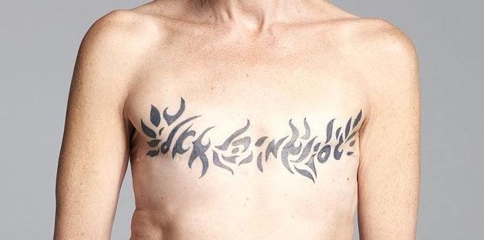Double mastectomy tribal tattoo