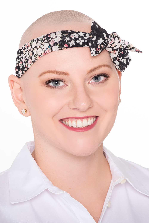 Mini Scarf Headband on Bald Head after Chemo