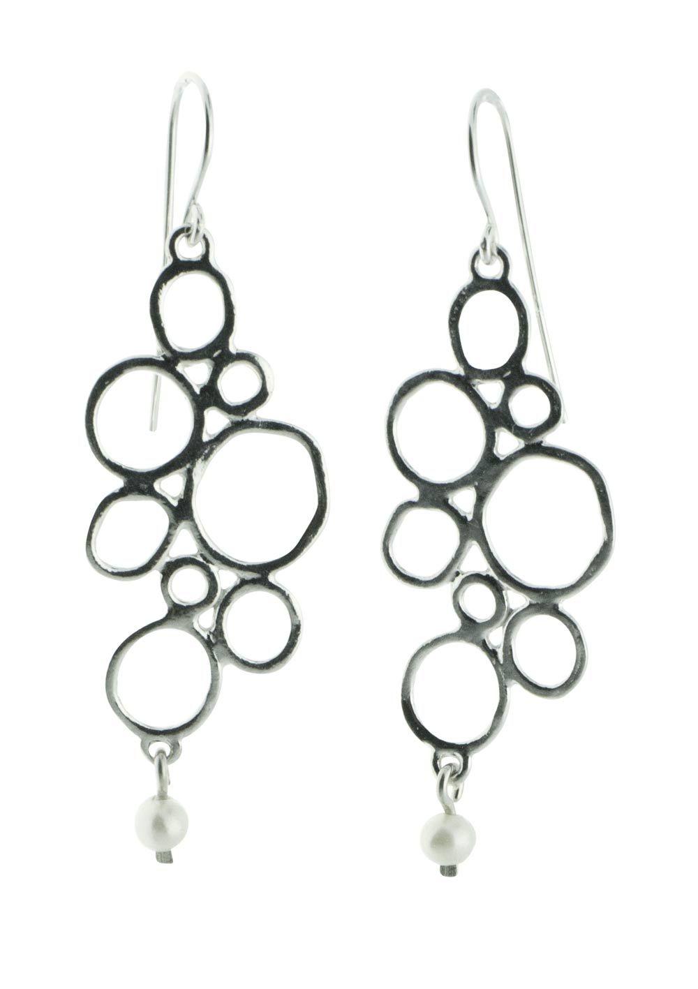 Pebble Pearl Sterling Silver Earrings