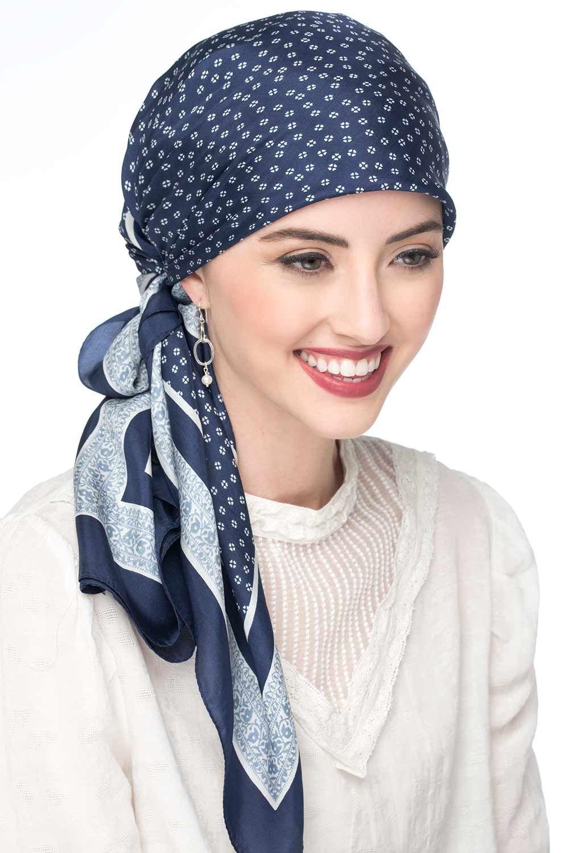 Shop Navy Silk Headscarf Trend Fall 2020