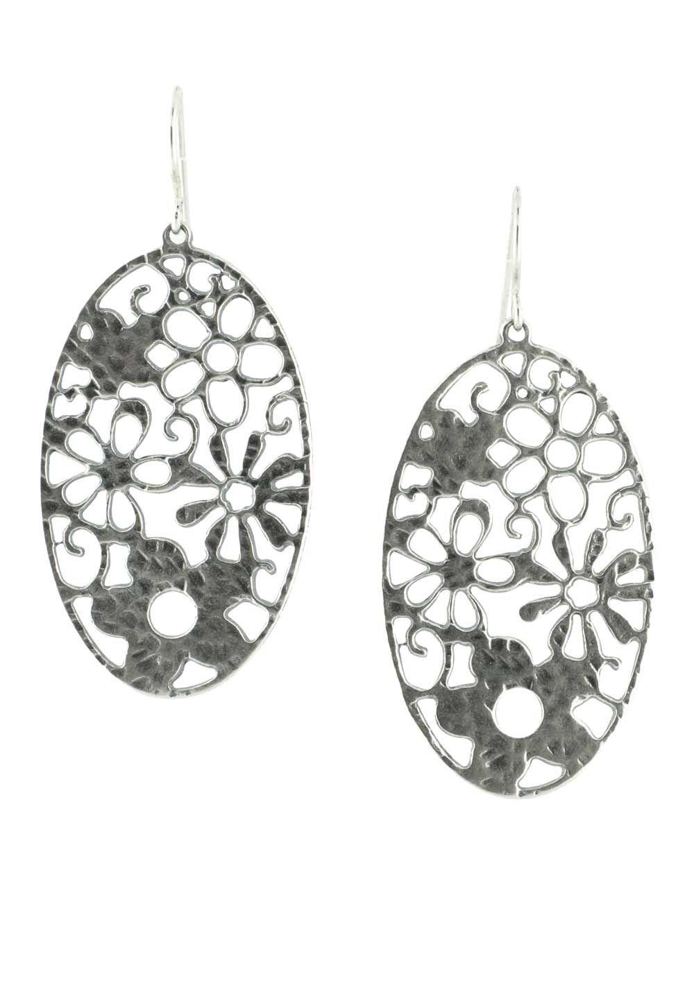 Floral Motif Sterling Silver Earrings