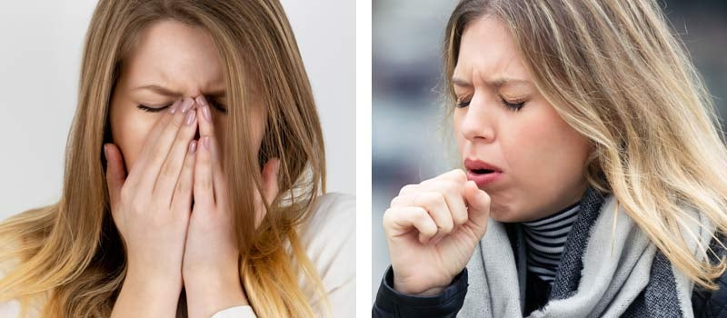 Coughing and sneezing into the hand