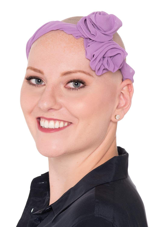 Rosette Twist Headband on Bald Head after Chemo